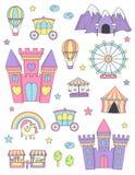 Elementen van het prinses de kasteel geïsoleerde ontwerp Royalty-vrije Stock Foto's
