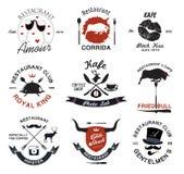 Elementen van het restaurant retro ontwerp en pictogramreeks Royalty-vrije Stock Fotografie