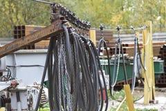 Elementen van het systeem om een huidig-draagt kabel te vervoeren stock foto