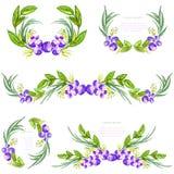 Elementen van het waterverf de bloemenontwerp met leavesandbosbessen Borstels, grenzen, kroon, slinger Vector Royalty-vrije Stock Fotografie
