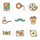 Elementen van Hipster van de pictogrammenstijl retro uitstekende Royalty-vrije Stock Afbeelding