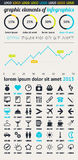 Elementen van Infographics met knopen en menu's Royalty-vrije Stock Foto's