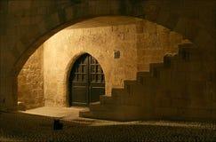 Elementen van middeleeuwse architectuur. Rhodos, Griekenland. stock foto's