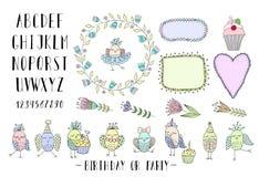 Elementen voor het creëren van groetkaarten, uitnodigingen met kaders, bloemen, doopvont en vogels Stock Afbeeldingen