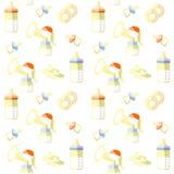 Elementen voor het de borst geven, de pomp van Brest, uitsteekselschild, naadloos patroon, vector royalty-vrije illustratie