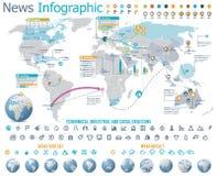 Elementen voor het nieuws infographic met kaart Stock Afbeelding