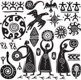 Elementen voor het ontwerpen van primitief art. Stock Foto