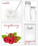 Elementen voor ontwerp van de zuivelfabriek van de verpakkingsmelk. royalty-vrije illustratie