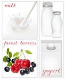 Elementen voor ontwerp van de zuivelfabriek van de verpakkingsmelk. Melkachtig s vector illustratie