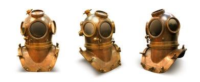 Elementenkuiper het duiken helmcasque overzees scaphandre stock afbeeldingen