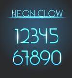Elementi al neon d'ardore Cifre di illuminazione illustrazione di stock