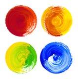 Elementi arrotondati di progettazione dell'acquerello disegnati a mano su tela immagini stock