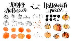 Elementi artistici disegnati a mano della decorazione della zucca e di orrore dell'acquerello di Halloween su fondo bianco illustrazione di stock