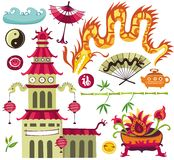 Elementi asiatici di disegno. Immagini Stock
