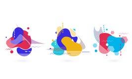 Elementi astratti di arte fluida colourful piana di stile illustrazione vettoriale