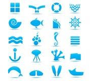 Elementi astratti di disegno del mare Fotografia Stock Libera da Diritti