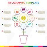 Elementi astratti di infographics dell'albero Modello infographic variopinto con 9 titoli fotografia stock