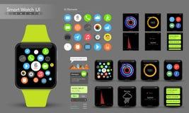 Elementi astuti creativi dell'orologio UI illustrazione vettoriale