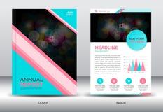 Elementi blu e rosa dei grafici del modello e di informazioni del rapporto annuale, Immagine Stock