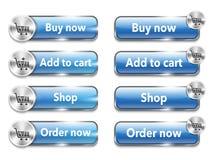 Elementi/bottoni metallici di web per acquisto online Fotografia Stock Libera da Diritti
