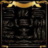 Elementi calligrafici di disegno dell'oro, decorazione Fotografia Stock