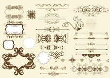 Elementi calligrafici di disegno di vettore Fotografie Stock Libere da Diritti