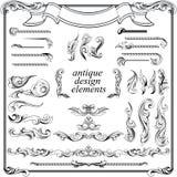 Elementi calligrafici di disegno, decorazione della pagina Fotografie Stock Libere da Diritti