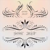 Elementi calligrafici di disegno Turbinii decorativi Immagine Stock