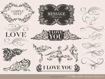 Elementi calligrafici di progettazione Fotografie Stock Libere da Diritti