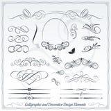 Elementi calligrafici e decorativi di progettazione Fotografia Stock