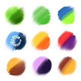 9 elementi colorati della pittura di vettore Immagine Stock