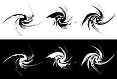 Elementi con distorsione girante, effetto a spirale Geo astratto Fotografie Stock