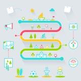 Elementi creativi delle icone di Infographics di attività all'aperto di estate Fotografie Stock