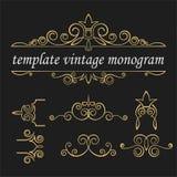 Elementi d'annata dei modelli su un fondo nero Blocco per grafici decorativo dell'oro Ornamento d'annata intrecciato royalty illustrazione gratis