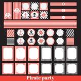 Elementi d'annata del partito del pirata Fotografia Stock