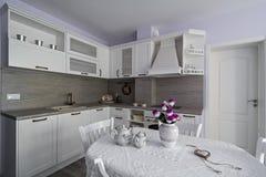 Elementi d'annata della cucina, ornamenti e dettagli della cucina nello stile classico Immagini Stock