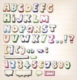 Elementi d'annata di ABC di scarabocchio illustrazione vettoriale
