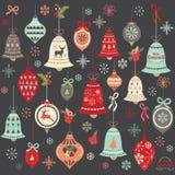 Elementi d'annata di Bell di Natale della lavagna Immagini Stock