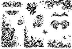 Elementi d'annata di progettazione (in bianco e nero) Fotografia Stock