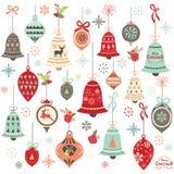 Elementi d'annata di progettazione di Bell di Natale Immagini Stock