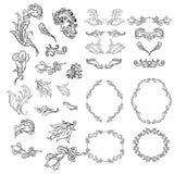 Elementi d'annata per la vostra progettazione Disegnato a mano Immagine Stock