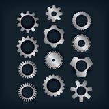 Elementi d'argento di progettazione degli ingranaggi Immagini Stock