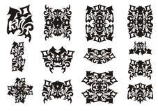 Elementi decorati in bianco e nero Immagini Stock Libere da Diritti