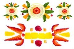 Elementi decorativi da frutta Immagini Stock