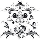 Elementi decorativi di disegno floreale Fotografie Stock