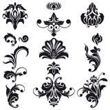 Elementi decorativi di disegno floreale Immagine Stock