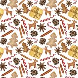 Elementi decorativi di Natale e del nuovo anno - illustrazione disegnata a mano acquerella, modello senza cuciture illustrazione vettoriale