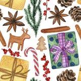 Elementi decorativi di Natale e del nuovo anno - modello senza cuciture acquerello, illustrazione disegnata a mano di vari dettag illustrazione vettoriale
