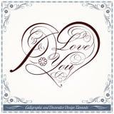 Elementi decorativi di progettazione del cuore calligrafico Fotografia Stock