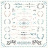 Elementi decorativi disegnati a mano variopinti di progettazione di scarabocchio Immagini Stock Libere da Diritti